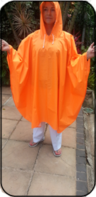 Hi Viz Orange Rubberized Rain Poncho